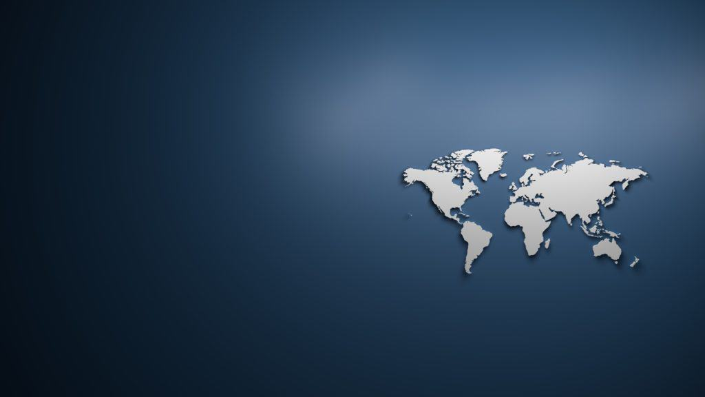 World map on blue background with textspace